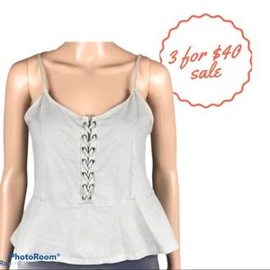 AMERICAN EAGLE taupe peplum lace up tank top